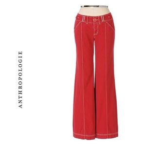 Anthropologie wide legged red pants 6